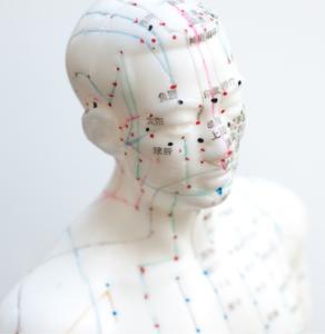 Sogenannte Akupunktur-Puppen zeigen verschiedene Abschnitte von Energie-Leitbahnen und darauf liegende Akupunkturpunkte, durch die die Lebensenergie Qi über den menschlichen Körper transportiert werden. Diese Darstellungen dienen zur Orientierung unter anderem für diejenigen, die Akupressur bei sich selbst anwenden wollen.
