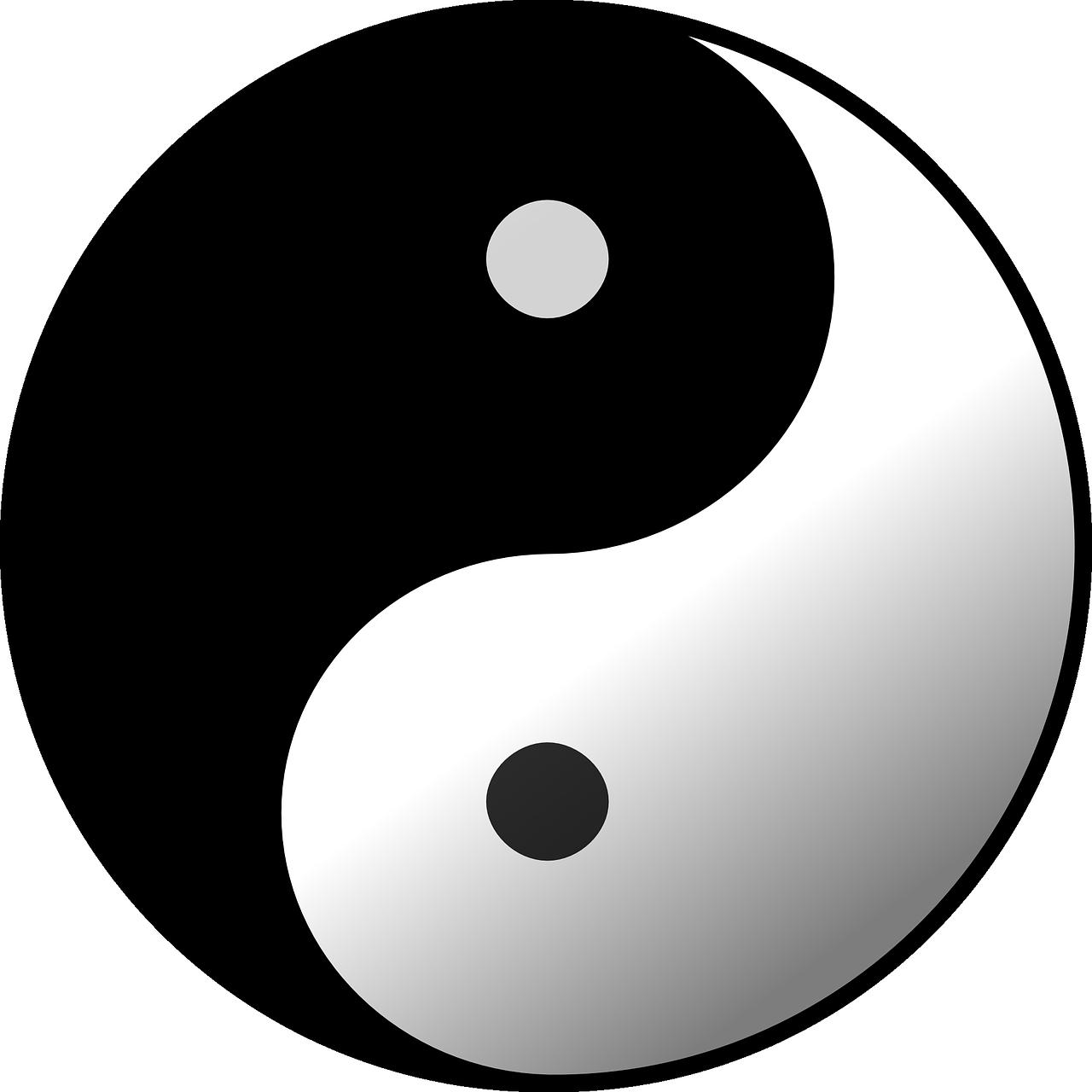 Die Grafik Yin und Yang, das Taiji-Symbol